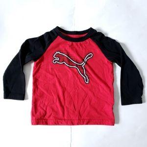 PUMA Baseball Tee Raglan Sleeves Black Red